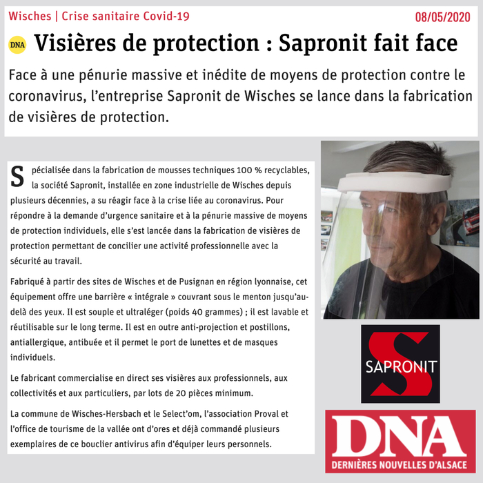 DNA article SAPORNIT Visières de protection